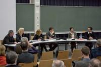 Podiumsdiskussion mit Markus Holzbach, Cornelia Hentschel, Cornelie Leopold, Daniel Lordick, Uta Graff, Achim Menges